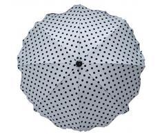 BAMBINIWELT Sonnenschirm für Kinderwagen SCHWARZ ROT BLAU GRAU etc. Ø68cm UV-Schutz50+ Schirm Sonnensegel Sonnenschutz (Weiß + kl. schw. Punkte)