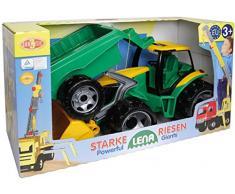 Lena 02123 - Starke Riesen Traktor mit Schaufel und Anhänger, ca. 62 cm und 43 cm, großes Spielfahrzeug Set für Kinder ab 3 Jahre, robuster Trecker mit funktionierender Ladeschaufel und Hänger