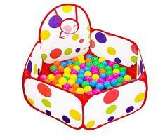 TOPFIRE Kinder Spielzelt Bällebad Pop Up Pit Pool Zelt Outdoor mit Mini Basketballkorb, Ball nicht enthalten (100 x 37cm)
