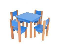 XXL Discount Kindertisch mit 4 stühle - 5 TLG. Set: Sitzgruppe für Kinder - aus Buche und MDF Holz - Tisch + Stühle/Kindermöbel für Jungen & Mädchen Kindersitzgruppe (Blau, Kindertisch mit 4 stühle)