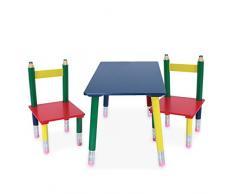 Kindertischgruppe, Möbel fürs Kinderzimmer, Kindermöbel, Kiefernholz, bunt lackiert, Bleistift-Design