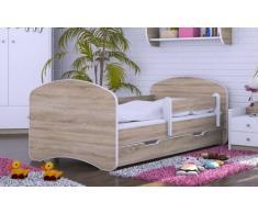 HB Kinderbett mit Matratze und Bettkasten - NEU Eiche Sonoma (190x90)