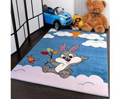 Kinderteppich verspielter Hase in Türkis Creme zum Top Preis Neu, Grösse:120x170 cm