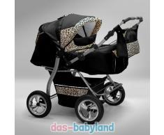 Akjax Gemini Zwillingskinderwagen - Geschwisterwagen - Zwillingsbuggy - Nr.06 schwarz / leopard