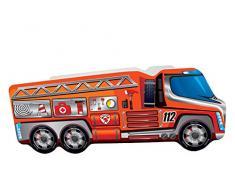 Alcube Autobett Motiv Feuerwehr LKW rot 140x70 cm - sicheres Kinderbett aus MDF mit Matratze Lattenrost und Kantenschutz - mit Motivfolie beklebtes Spielbett