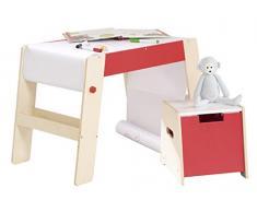 roba Maltisch & Hocker Set, Kindertisch & -Stuhl Kombination Holz natur/rot, Schreibtisch für die Vorschule inkl. Stuhl mit Papierrolle
