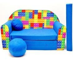 Pro Cosmo C32 Kinder Sofa Bett mit Puff/Fußbank/Kissen, Stoff, Mehrfarbig, 168 x 98 x 60 cm