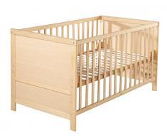 roba Kombi Kinderbett, 70x140 cm, Babybett Holz natur, 3-fach höhenverstellbar, Baby- bzw. Kinderbett mit Schlupfstäben umbaubar zum Juniorbett