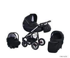 Clamaro 3 in 1 Comfort VIP 2018 Kombi Kinderwagen aus Aluminium im Leder Design mit Babywanne, Sport Buggyaufsatz, Maxi Cosi Babyschale (ISOFIX), Schwarz