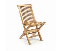 Divero GL05034 Kinderstuhl Klappstuhl Gartenstuhl klappbar Teak Holz unbehandelt für Kinder, Sitzhöhe 33 cm, Natur