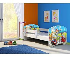 Clamaro Fantasia Weiß 160 x 80 Kinderbett Set inkl. Matratze und Lattenrost, mit verstellbarem Rausfallschutz und Kantenschutzleisten, Design: 37 Feuerwehr