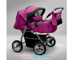 Akjax Gemini Zwillingskinderwagen - Geschwisterwagen - Zwillingsbuggy - Nr.21 pink / schwarz