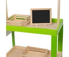 Kledio Kinder Kaufladen mit Markise aus Holz FSC 100%, Marktstand zum Spielen für Mädchen und Jungen, Kaufmannsladen ab einem Alter von 3 Jahren geeignet