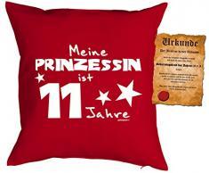 Mädchen/Geburtstags/Deko-Kissen inkl. Spaß-Urkunde: Meine Prinzessin ist 11 Jahre tolles Geschenk 11.Geburtstag