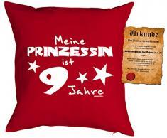 Mädchen/Geburtstags/Deko-Kissen inkl. Spaß-Urkunde: Meine Prinzessin ist 9 Jahre tolles Geschenk 9.Geburtstag