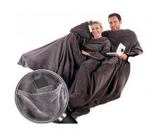 CelinaTex TV-Decke Kuscheldecke mit Ärmeln und Fußtasche XL 170 x 200 cm grau Coral Fleece Tagesdecke Ärmeldecke