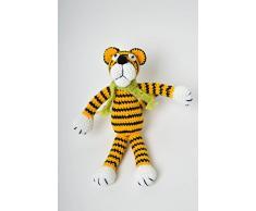 Handmade Hakel Kuscheltier Kinder Spielzeug Stoff Tier Tiger klein originell