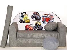 Pro Cosmo A14 Kinder Sofa Bett mit Puff/Fußbank/Kissen, Stoff, Grau, 168 x 98 x 60 cm