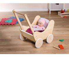 Dekoleidenschaft Holz Puppenwagen Lauflernwagen mit Bettwäsche
