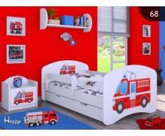 HB Kinderbett mit Matratze und Bettkasten - NEU , Verschiedene Motive Weiss (140x70cm mit Schublade, FEUERWEHR)