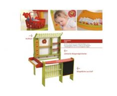 roba Kaufladen Marktstand, Kinder Kaufmannsladen, Holz grün/rot, Verkaufsstand mit Theke, Tafel, Seitentheke & Markise