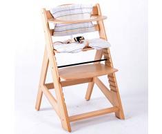 Treppenhochstuhl Babyhochstuhl Kinderhochstuhl Kindertreppenhochstuhl Babystuhl Hochstuhl - NATUR HC2533-D01 Creme