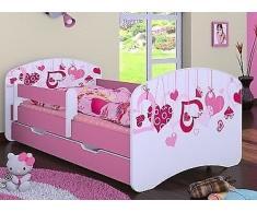 naka24 HB Kinderbett sinkende Herzen mit Matratze und Bettkasten/viele Variante (Rosa, 80 x 160 cm)