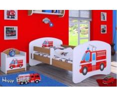 naka24 HB Kinderbett mit Matratze und Bettkasten - NEU, Verschiedene Motive Für Junge Buche (160x80cm mit Schublade, Feuerwehr 1)
