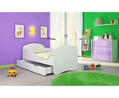 Clamaro Kinderbett Dreamer inkl. Matratze, Lattenrost und Bettkasten, Jugendbett mit ABS Schutzkanten - 160 x 80 cm, Farbe: Weiß/Weiß