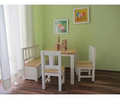 Best of JAM® Kindersitzgruppe 1x Kindertisch 2x Kinderstuhl 1x Kindersitzbank mit Deckelbremse NATUR weiß NEU