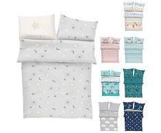 s.Oliver Bettwäsche 100x135 Mond Sterne - Kinderbettwäsche grau 100% Baumwolle hochwertiger Makosatin 2 teiliges Set aus Babybettwäsche 135x100 cm und Kissen 40x60 cm Reißverschluss