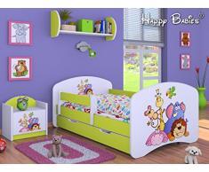 HB Kinderbett mit Matratze und Bettkasten - NEU, Verschiedene Motive Lemon (160x80cm mit Schublade, Safari)