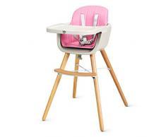 COSTWAY Babyhochstuhl Holz, Kinderhochstuhl Treppenhochstuhl, Kombihochstuhl Baby, Holzhochstuhl Kinder mit einstellbares Esstischchen (Rosa)
