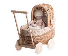 Ein Wagen, ein Bett für Puppen aus Weide, Spielzeug aus Holz, Puppenwagen aus Weide, Korbpuppenwagen, Weidenwagen