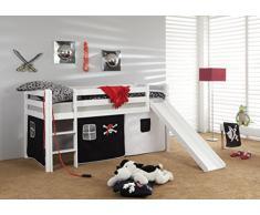 Hochbett Bett Piraten Marco Kiefer Massiv Weiß Spielbett inkl. 1 x Rollrost + Vorhang + Turm