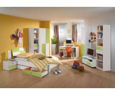 Jugendzimmer Wohnwandkombination weiß - grün Regal Schrank Kinderzimmer