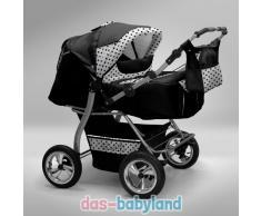 Akjax Gemini Zwillingskinderwagen - Geschwisterwagen - Zwillingsbuggy - Nr.31 schwarz / weiss Punkte schwarz