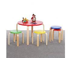 iKayaa 5-teilig Kindersitzgruppe Kindertisch mit 4 Stühlen aus Holz