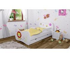 Kinderbett Weiss mit Matratze Bettkasten und Lattenrost - verschiedene Motive DM (Lüwe, 160x80)