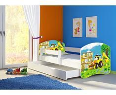 Clamaro Fantasia Weiß 140 x 70 Kinderbett Set inkl. Matratze, Lattenrost und mit Bettkasten Schublade, mit verstellbarem Rausfallschutz und Kantenschutzleisten, Design: 20 Bagger