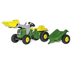 rolly toys | rollyKid John Deere | Kinder Trettraktor mit Frontlader und Anhänger | 023110