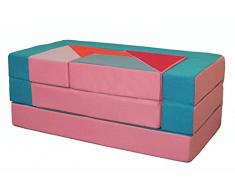 Kindersofa Puzzle Sofa Spielsofa mit Bettfunktion 4in1 Matratze Spieltisch (Rosa+Hellblau) Kindermöbel Kindersofa Schaumstoff Kindercouch Ausklappbar Spilsofa für Kinder Sofa Kindercouch Geschenk