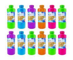 Quantio Seifenblasenflüssigkeit inkl. Seifenblasenstab - mit Schraubverschluss, 0,7 Liter Nachfüllflasche - Verschiedene Mengen wählbar, Stückzahl:12 Stück