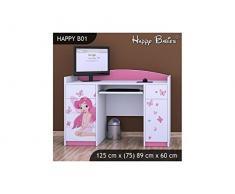 Schreibtisch Schülerschreibtisch B01 125x89x60cm verschiedene Motive für Mädchen (Prinzessin mit Schmetterlingchen B01)