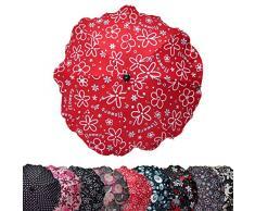 BAMBINIWELT Sonnenschirm für Kinderwagen SCHWARZ ROT BLAU GRAU etc. Ø68cm UV-Schutz50+ Schirm Sonnensegel Sonnenschutz (Flowers Rot)
