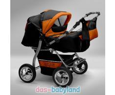 Akjax Gemini Zwillingskinderwagen - Geschwisterwagen - Zwillingsbuggy - Nr.40 schwarz / orange