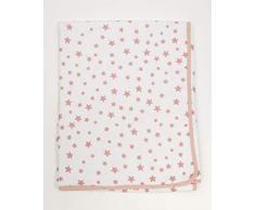 Ti TIN - weiche, saugfähige Babydecke, 80x75 cm | Krabbeldecke aus 100% Baumwolle mit doppellagigen Stoff, Babydecke fürs Auto, Wiege, Kinderwagen, Babyschale, etc, Sternchen-Motiv, rosa