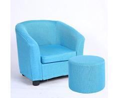 Kinder Sofa waschbar einzigen Mädchen niedlich Baby Sofa Cartoon Junge faul kleine Sofa Kindersitz, blau + Hocker abnehmbar und waschbar