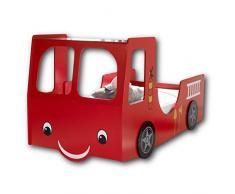 Stella Trading HEAT Feuerwehrbett mit 90 x 200 cm Liegefläche - Aufregendes Auto Kinderbett für kleine Feuerwehrmänner in Rot - 107 x 100 x 209 cm (B/H/T)