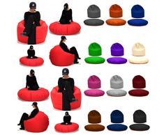 Sitzsack 2 in 1 Sitzbag Größe S-M-L-XL-XXL-XXXL-XXXXL mit Styropor Füllung - In & Outdoor - verschiedene Farben & Größen - Bean Bag Sitzkissen Bodenkissen Hocker Kinder Sitzsäcke Möbel Kissen Sessel Sofa (L = ca.100cm Rund Durchmesser, Anthrazit)